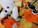 ◆クマちゃんも一緒 ♪ イエロー・オレンジ系花束◆