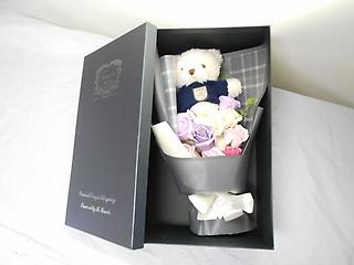 ☆ふわもこテディ・ホワイトとバラの花束☆