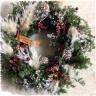 おまかせクリスマスカラーのナチュラルリース木箱付