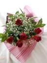 バラ&かすみ 定番花束