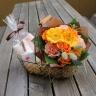母の日に…【花束とタオルのギフトセット・イエロー】