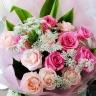 ピンクローズロングステム花束