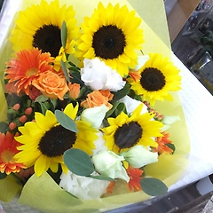 イエローシャインひまわり花束