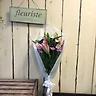 菊とオリエンタルユリのお供えピンク