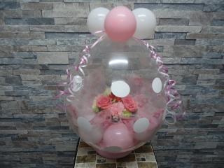 バルーンラッピング ホワイト&ピンク