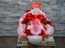 母の日ポンポンアレンジ 赤、ピンク