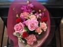 ピンク&赤のラウンド花束