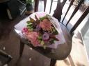 ピンク&ポープル花束 (ブーケタイプ)