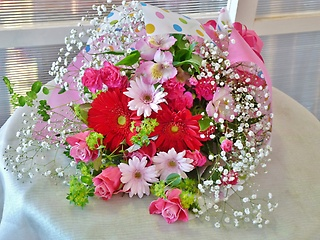 赤・ピンク系花束