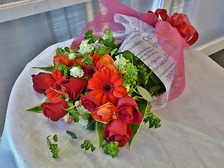 赤・オレンジ系花束