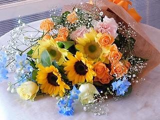 ひまわりのイエロー&ブルー花束