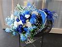 白&ブルー系花束