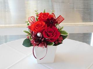 プリザーブドフラワー(白花器・赤バラ3輪)