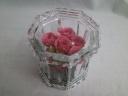 豪華、ピンクのバラ5輪が器の中