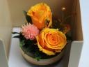 陶器の器にオレンジのバラ2輪