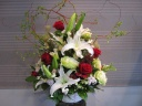 赤い薔薇と白い百合