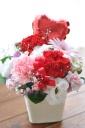 「母の日」 -ハートのバルーン- 赤ピンク