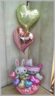 2つの浮くバルーン付◆女の子のご出産お祝いに◆