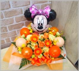 バルーン入り◆お花たっぷりミニー(オレンジ)◆