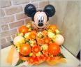 バルーン入り◆お花たっぷりミッキー(オレンジ)◆