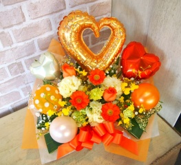 バルーン入りアレンジ◆お花たっぷり♪オレンジ×黄◆