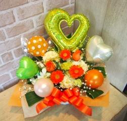 バルーン入りアレンジ◆お花たっぷり♪オレンジ×緑◆