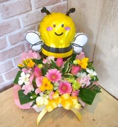 バルーン付アレンジ◆みつばちと春のお花畑◆