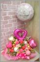 浮くバルーン付◆お花たっぷりピンク&ホワイト◆