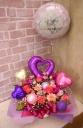 浮くバルーン付◆お花たっぷりピンク&パープル◆