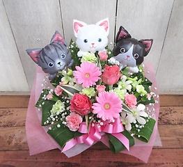 バルーン&生花◆3匹の子猫(ピンク系)◆
