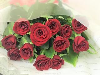 ダズンローズ【赤バラ12本の花束】