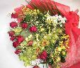 【レッドコーラル】 バラと蘭の華やか花束