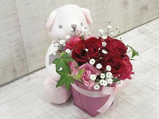 小さな桜色くまさんのフラワーギフト?赤ピンク?
