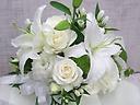 ゆりとバラの洋花お供えアレンジメント