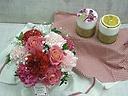 母の日バラ入りアレンジメント~香りのキャンドル添え