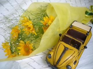 ひまわりの花束&クラッシックカー