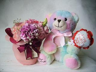 幸せ虹色クマのシロップ&ポットブーケ