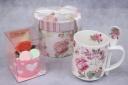 オレンジバラカップケーキ&スプーン付きマグカップ