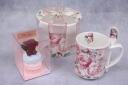 赤バラマカロン&スプーン付きマグカップ