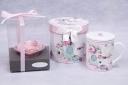 ピンクハート&茶こし付きマグカップ