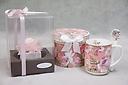 ピンクバラ&スプーン付きマグカップ