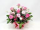 ピンクバラとトルコキキョウの可愛いアレンジメント