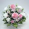 ペットの供花 ピンクカーネと白トルコのお供え花