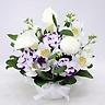 【ペットの供花】カラーとピンポン菊のお供え花-01