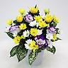 黄菊とスプレー菊のお供えアレンジメント