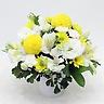 イエローピンポン菊とホワイトフラワーのお供え花