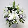 白ユリ・トルコキキョウ・かすみ草のお供え花