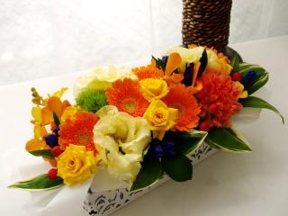 ロゼッタオリジナル!横長タイプで季節のお花アレンジ