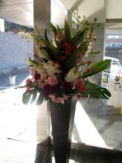 お急ぎのご注文OK!華やかなレッド系アイアタンド花