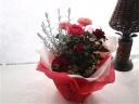 四季咲きバラとシルバーツリーの寄せ鉢MIX